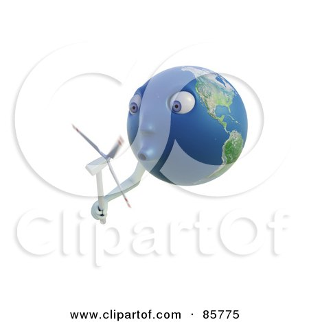3d Earth Face Holding And Blowing A Windmill Posters, Art Prints
