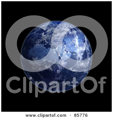 Royalty-Free (RF) Clipart Illustration of a 3d Blue Globe Of Night And Lights On Africa by Mopic