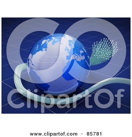 Royalty-Free (RF) Clipart Illustration of a 3d Blue Globe With Fiberglass Cables Over Blue by Mopic