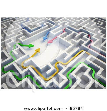 Royalty-Free (RF) Clipart Illustration of a Colorful 3d Arrows Meeting In The Center Of A Maze by Mopic