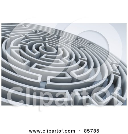 Royalty-Free (RF) Clipart Illustration of a Circular 3d Maze by Mopic