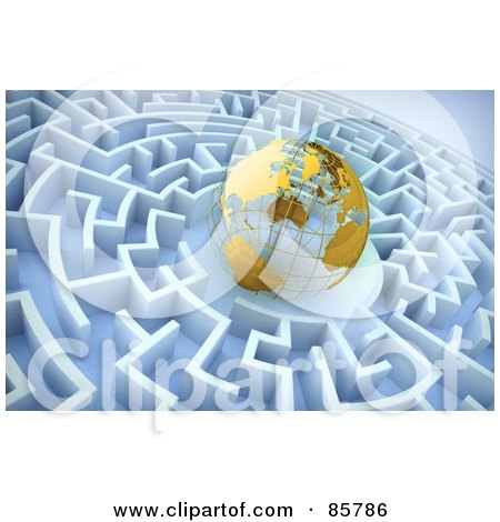 Royalty-Free (RF) Clipart Illustration of a 3d Golden Wire Globe In The Center Of A Blue Maze by Mopic
