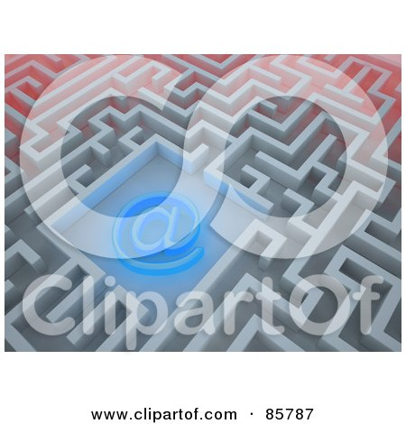 Royalty-Free (RF) Clipart Illustration of a Glowing Blue At Symbol In The Center Of A Maze by Mopic