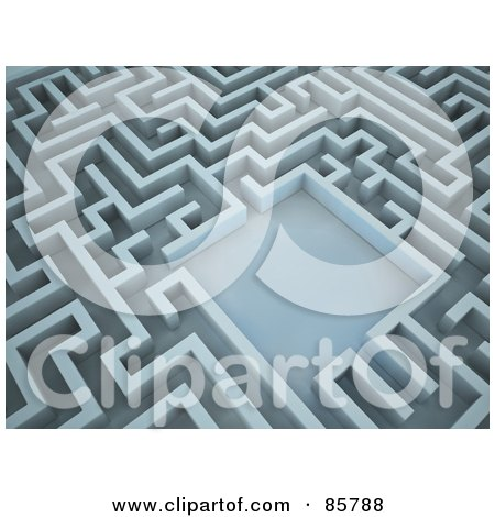 Royalty-Free (RF) Clipart Illustration of an Empty Courtyard In The Center Of A 3d Maze by Mopic