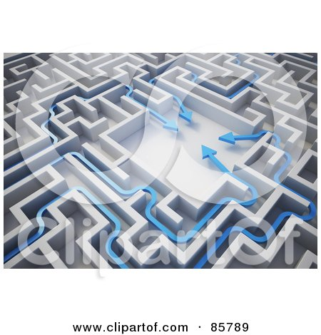 Royalty-Free (RF) Clipart Illustration of a 3d Blue Arrows Meeting In The Center Of A Maze by Mopic
