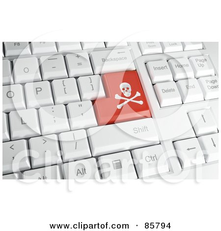 Royalty-Free (RF) Clipart Illustration of a 3d Red Danger Button On A Computer Keyboard by Mopic