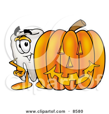 Clipart Picture of a Tooth Mascot Cartoon Character With a Carved Halloween Pumpkin by Toons4Biz