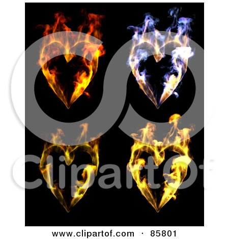 Royalty-Free (RF) Clipart Illustration of a Digital Collage Of Colorful Flaming Hearts Over Black by Mopic