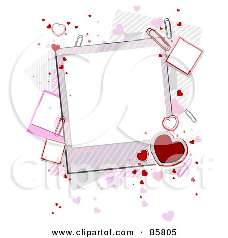 Royalty-Free (RF) Clipart Illustration of Hearts And Paperclips With Blank Valentine Polaroids by BNP Design Studio