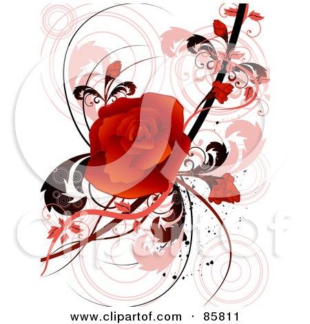 Red Floral Grunge Rose Design Posters, Art Prints