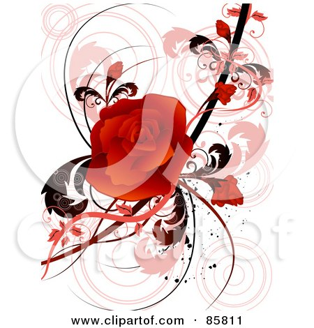 Royalty-Free (RF) Clipart Illustration of a Red Floral Grunge Rose Design by BNP Design Studio