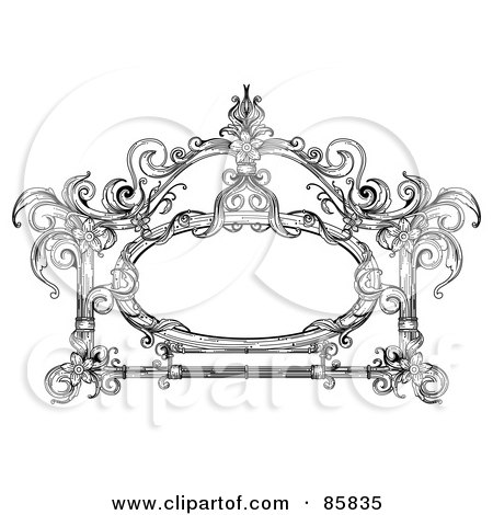 Royalty-Free (RF) Clipart Illustration of a Vintage Black And White Victorian Text Box - Version 12 by BNP Design Studio