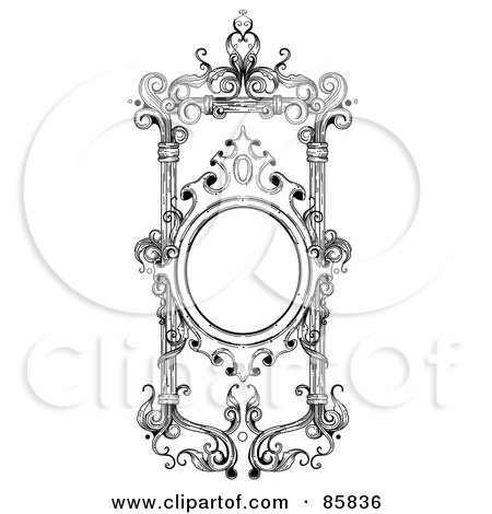 Royalty Free RF Clipart Illustration Of A Vintage Black And White Victorian Text Box