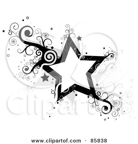 Royalty-Free (RF) Clipart Illustration of Black And Gray Vine Stars With Swirls by BNP Design Studio