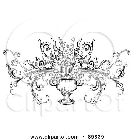 Royalty-Free (RF) Clipart Illustration of a Vintage Black And White Vase With Flowers by BNP Design Studio