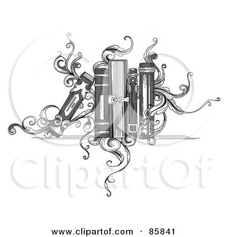 Royalty-Free (RF) Clipart Illustration of a Vintage Black And White Book Shelf With Books And Vines by BNP Design Studio