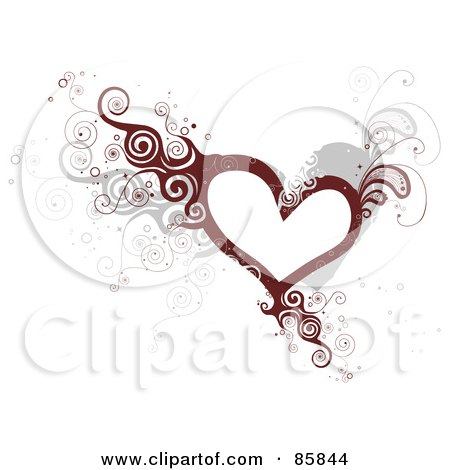 Royalty-Free (RF) Clipart Illustration of a Curly Vine Heart by BNP Design Studio