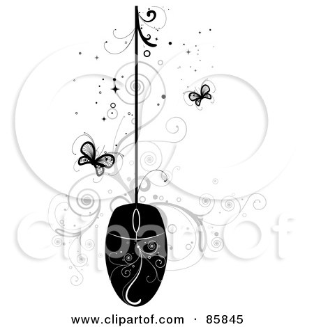 Royalty-Free (RF) Clipart Illustration of a Black Computer Mouse With Vines And Butterflies by BNP Design Studio