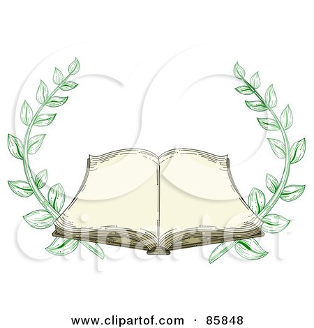 Royalty-Free (RF) Clipart Illustration of an Antique Book Open With Blank Pages And Branches by BNP Design Studio
