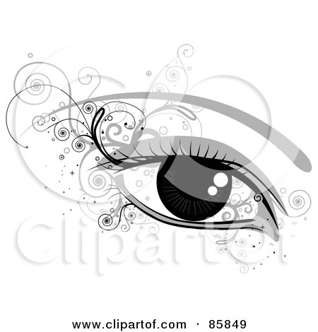 Royalty-Free (RF) Clipart Illustration of a Woman's Shiny Eye With Curly Vines by BNP Design Studio