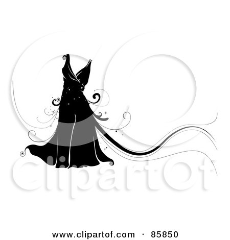 Royalty-Free (RF) Clipart Illustration of a Black Dress With Magical Vines by BNP Design Studio