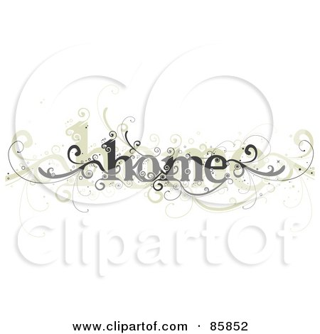 Royalty-Free (RF) Clipart Illustration of a Gray And Beige Curly Home Vine by BNP Design Studio