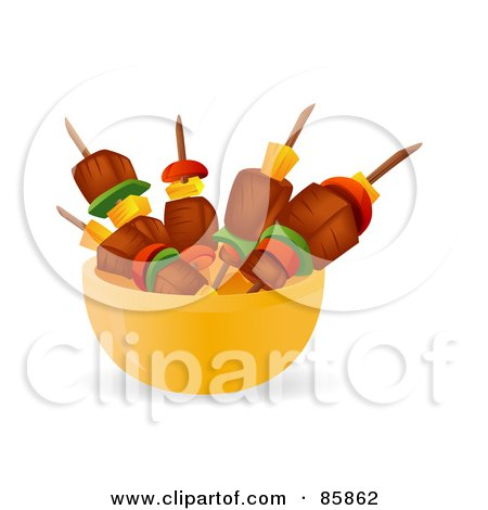 Royalty-Free (RF) Clipart Illustration of Meat And Veggie Kebabs In A Yellow Bowl by BNP Design Studio