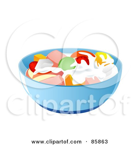 Royalty-free clipart picture of a blue bowl of fruit salad,