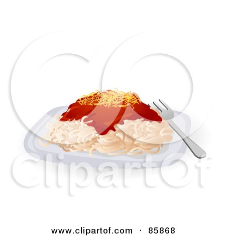 Royalty-Free (RF) Clipart Illustration of a Serving Of Fresh Spaghetti With Pasta Sauce And Cheese by BNP Design Studio