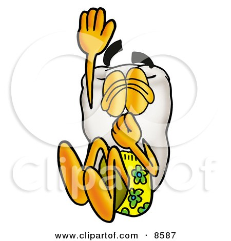 Clipart Picture of a Tooth Mascot Cartoon Character Plugging His Nose While Jumping Into Water by Toons4Biz