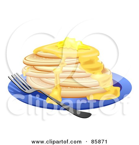 Royalty-Free (RF) Clipart Illustration of a Stack Of Flap Jacks With Melting Butter by BNP Design Studio