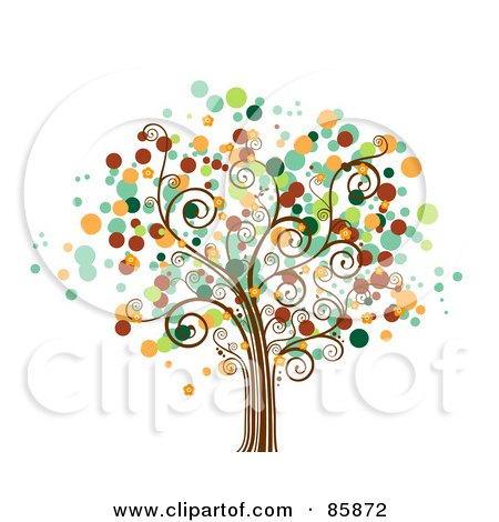 Royalty-Free (RF) Clipart Illustration of a Tree With Halftone Dot Foliage - Version 4 by BNP Design Studio