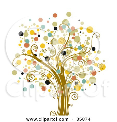 Royalty-Free (RF) Clipart Illustration of a Tree With Halftone Dot Foliage - Version 2 by BNP Design Studio