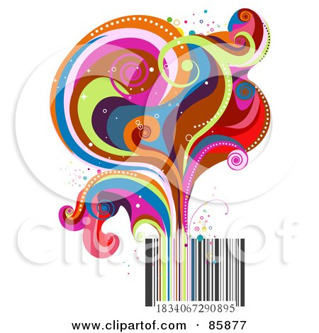 Royalty-Free (RF) Clipart Illustration of Funky Colorful Swirls Rising From A Bar Code by BNP Design Studio
