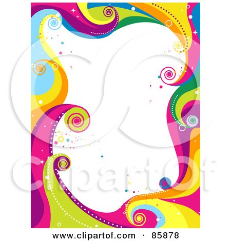 Royalty-Free (RF) Clipart Illustration of a Border Of Funky Colorful Waves And Circles With White Space by BNP Design Studio