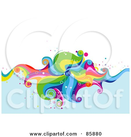 Royalty-Free (RF) Clipart Illustration of a Funky Colorful Wave Over Blue Water With White Space by BNP Design Studio
