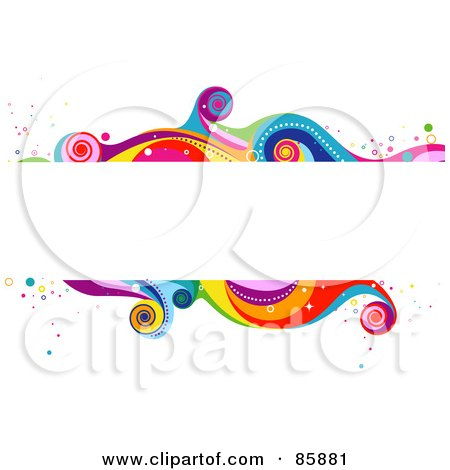 Royalty-Free (RF) Clipart Illustration of a White Text Box With Funky Colorful Waves by BNP Design Studio