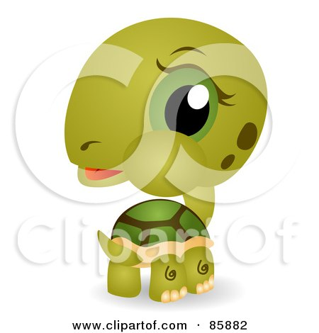 Royalty-Free (RF) Clipart Illustration of an Adorable Big Head Baby Tortoise by BNP Design Studio