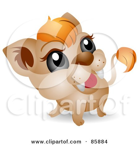 Royalty-Free (RF) Clipart Illustration of an Adorable Big Head Baby Lion Cub by BNP Design Studio