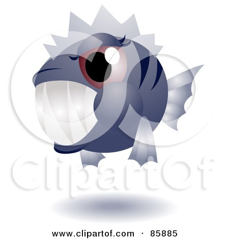 Royalty-Free (RF) Clipart Illustration of an Adorable Big Head Baby Piranha by BNP Design Studio