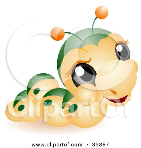 Royalty-Free (RF) Clipart Illustration of an Adorable Big Head Baby Caterpillar by BNP Design Studio