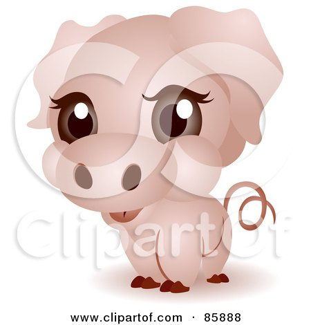 Royalty-Free (RF) Clipart Illustration of an Adorable Big Head Baby Piggy by BNP Design Studio