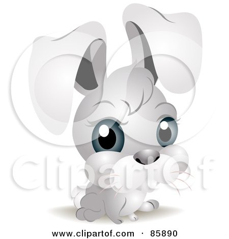 Royalty-Free (RF) Clipart Illustration of an Adorable Big Head Baby Bunny Rabbit by BNP Design Studio