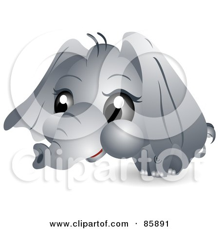 Royalty-Free (RF) Clipart Illustration of an Adorable Big Head Baby Elephant by BNP Design Studio