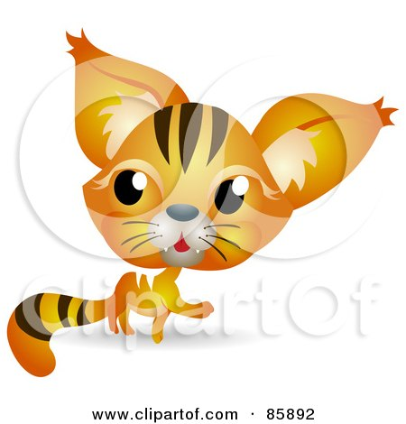 Royalty-Free (RF) Clipart Illustration of an Adorable Big Head Baby Orange Kitty Cat by BNP Design Studio