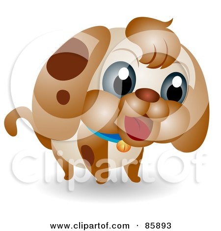 Royalty-Free (RF) Clipart Illustration of an Adorable Big Head Baby Puppy by BNP Design Studio