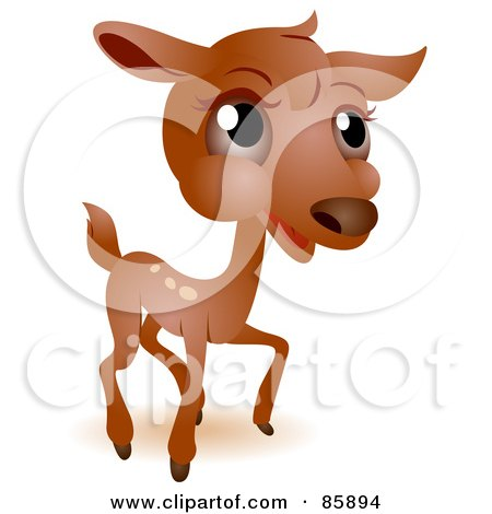 Royalty-Free (RF) Clipart Illustration of an Adorable Big Head Baby Deer by BNP Design Studio