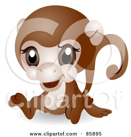 Royalty-Free (RF) Clipart Illustration of an Adorable Big Head Baby Monkey by BNP Design Studio