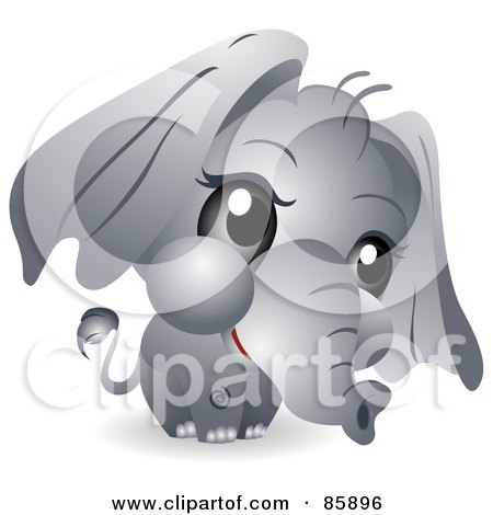 Royalty-Free (RF) Clipart Illustration of an Adorable Big Head Baby Pachyderm by BNP Design Studio