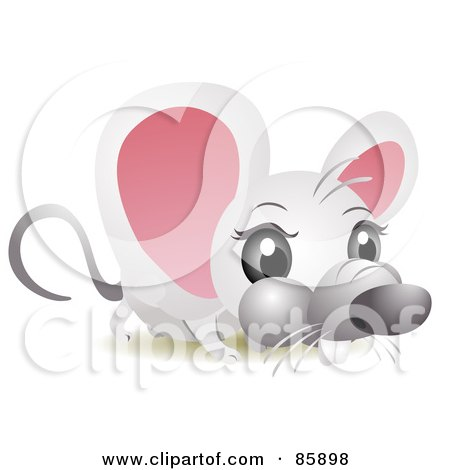 Royalty-Free (RF) Clipart Illustration of an Adorable Big Head Baby Mouse by BNP Design Studio